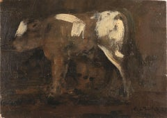 Cow - Original Oil on Canvas by Carlo Mattioli - 1939