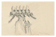 Untitled - Early Surrealist Pencil Drawing by Roberto Matta - 1950s