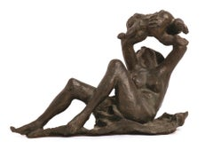 Woman with Baby - Original Bronze Sculpture by A. Murer - 1977