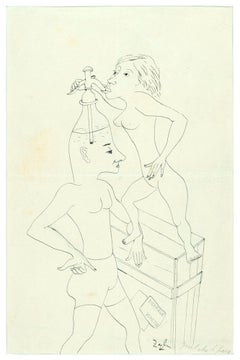 Quel che ti pare (Whatever you Want)-Original Ink drawing by Primo Zeglio-1950s