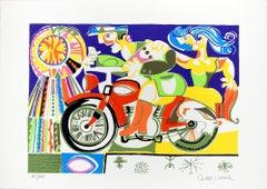Il Motociclista (The Rider) - Original Lithograph by Giovanni De Simone - 1970s