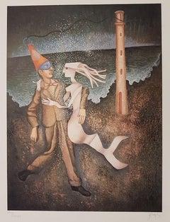 Man with Siren - Original Lithograph by Enrico Benaglia - 1960s
