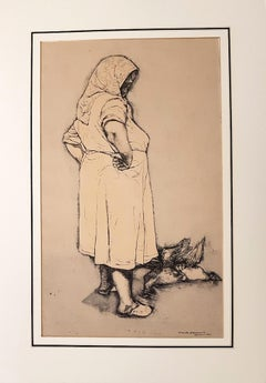 Farmer with Hen - Original Ink Drawing by Renzo Vespignani - 1953