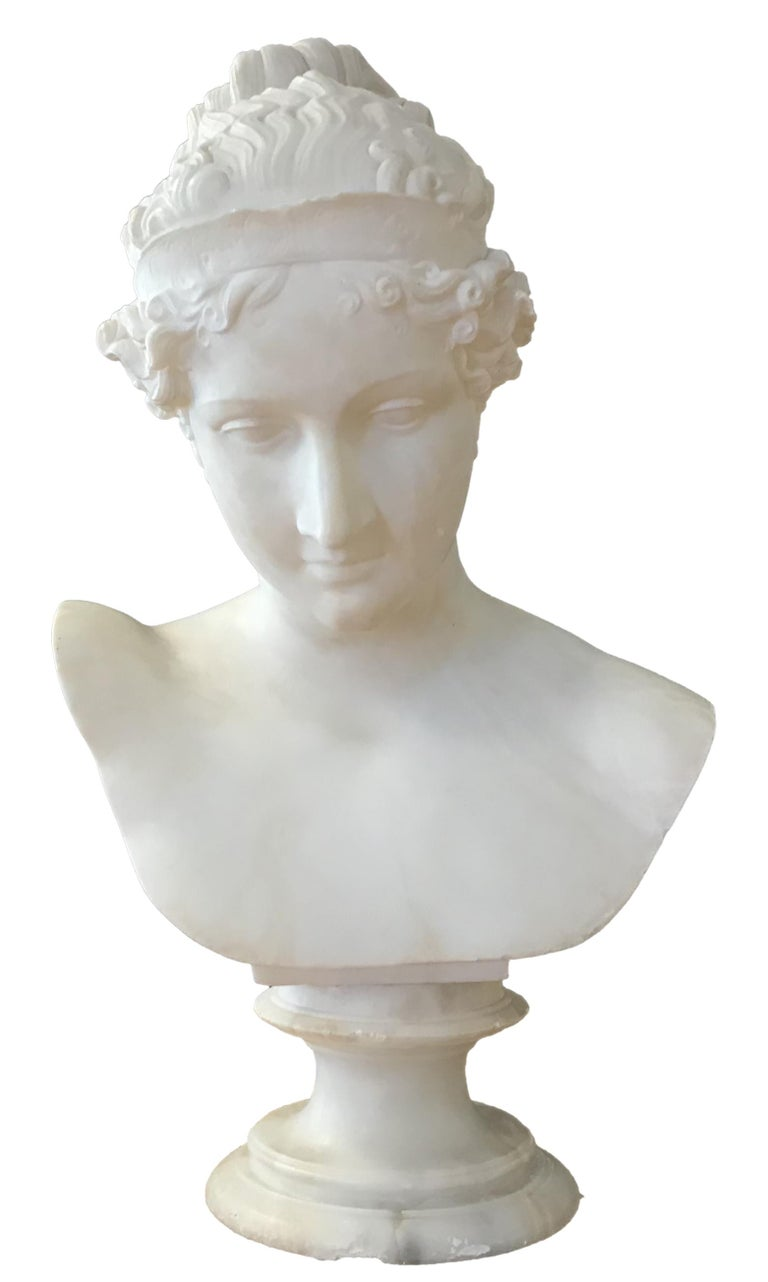 Bust of Young Woman, Original Carrara Marble Sculpture For Sale 3