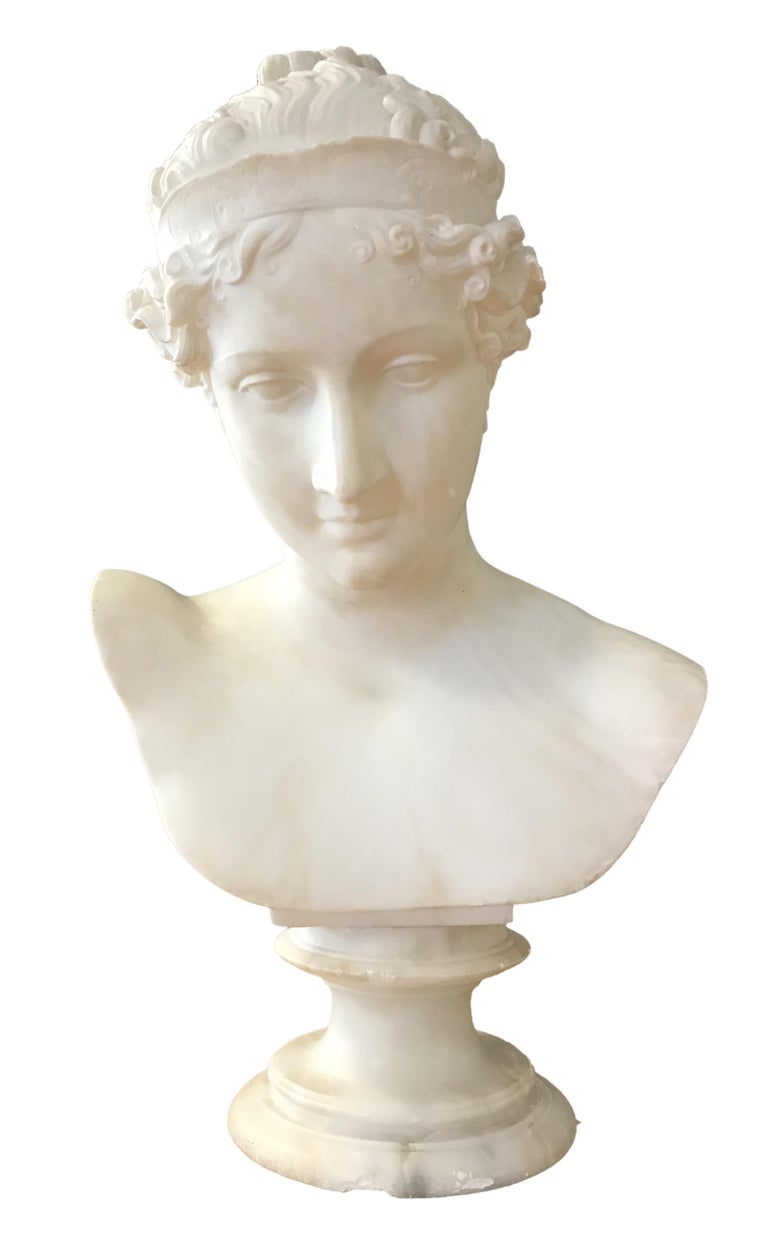 Bust of Young Woman, Original Carrara Marble Sculpture For Sale 4