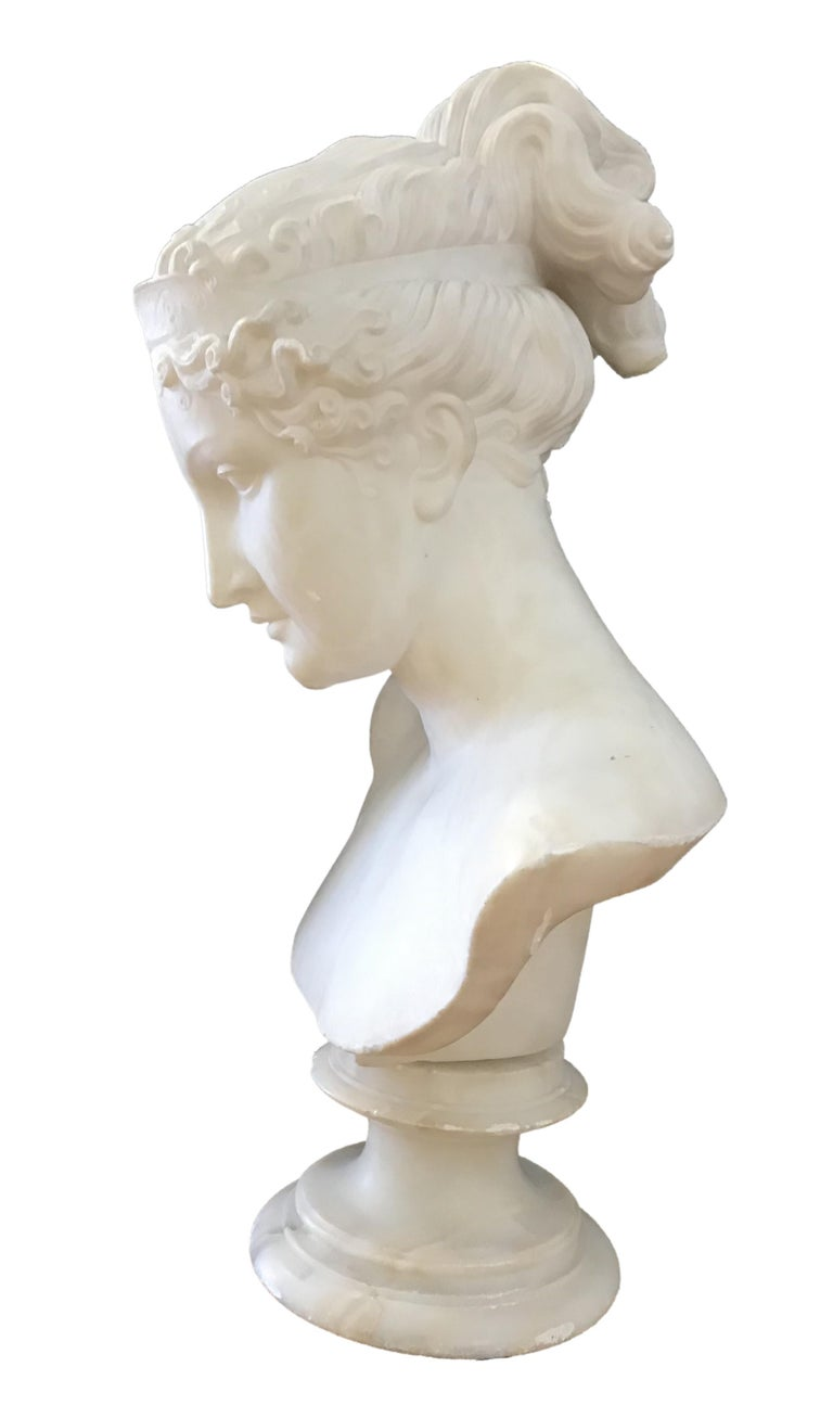 Bust of Young Woman, Original Carrara Marble Sculpture For Sale 5