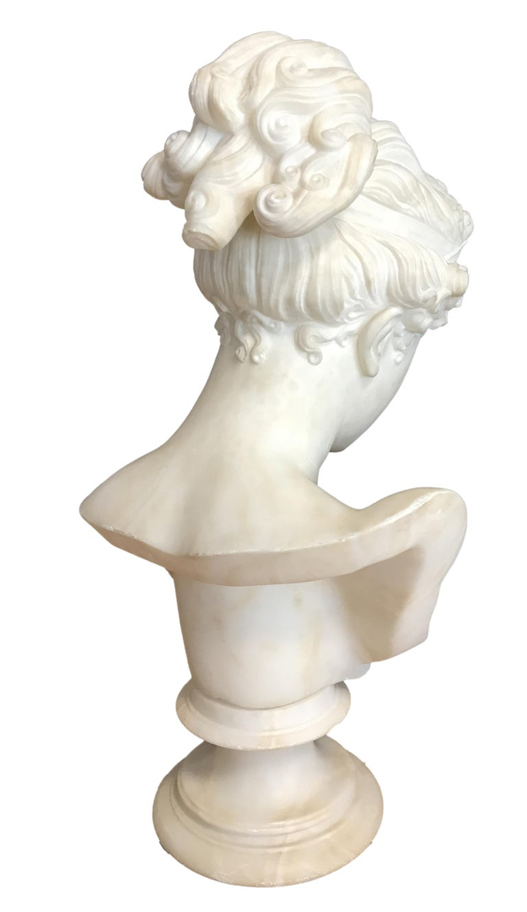 Bust of Young Woman, Original Carrara Marble Sculpture For Sale 7