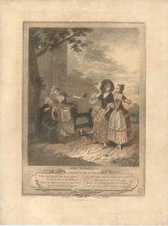 La Promenade du Matin - Original Lithograph by T.E. Lingée - 1772