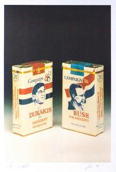 Bush-Dukakis - Original Screen Print by Bettino Craxi - 1989
