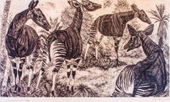 Animals - Original Etching by E. Wiiralt - 1949