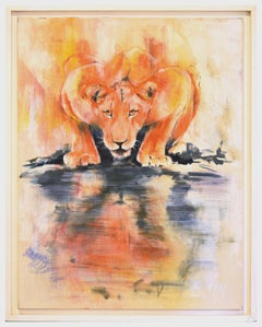 Lioness by the Water - Original Oil on Canvas by Marij Hendrickx - Early 2000s