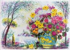 Flowerpot  - Original Lithograph by Jovan Vulic - 1988