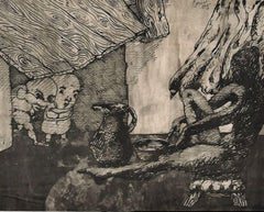 Surrealist Composition - Original China Ink Drawing by Jorge Castillo - 1960 ca.
