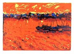 Orange Langscape - Original Screen Print by V. Monti - 1970s