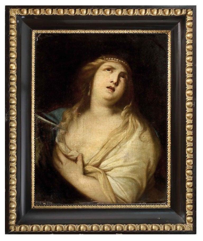 The Suicide of Lucrezia - Original Oil Paint by Giacomo Farelli - Late 1600 For Sale 1