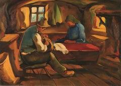 Untitled/Interior Scene - Original Oil on Canvas by J-I Mus - Mid 20th Century