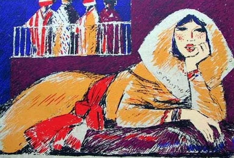Salvatore Fiume Figurative Print - Salima - Original Screen Print by S. Fiume - 1980
