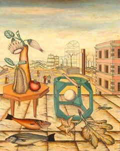 Surrealist Landscape - Original Mixed Media on Wood by A. Fornari - 1940