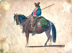 A Cowboy on the Horse - Original Ink and Watercolor by C. Coleman - Late 1800