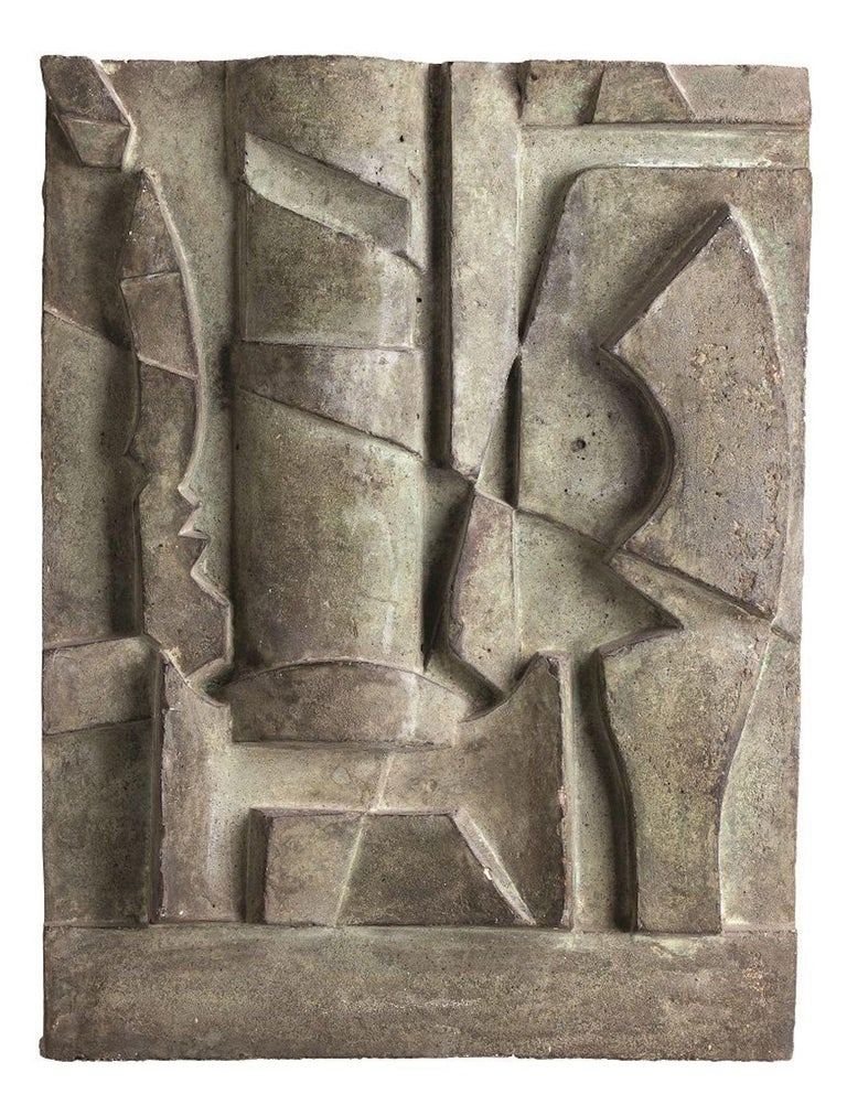 Image dimensions: 51 x 38,5 cm.  Youth Study is an original artwork realized by Nunzio Di Stefano in 1975.   Sculpture realized in cement with a painted wood support (dimension with the support: cm 66 x 5 x 54).   Certification of the work by the