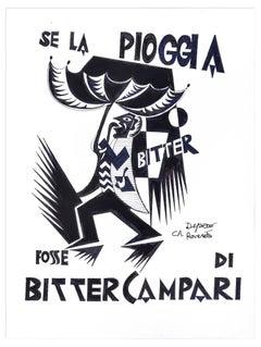Se La Pioggia Fosse Di Bitter Campari - Original Ink Drawing After F. Depero