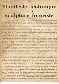 Manifeste Technique de la Sculpture Futuriste - Original Manifesto - 1912
