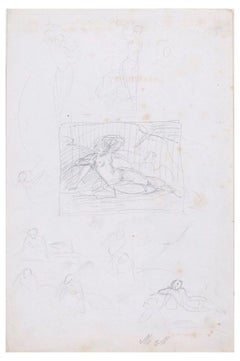 Composition with Nude Woman - Original Pencil Drawing Early 20th Century