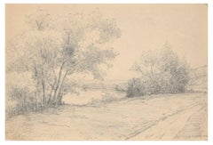 River Bank - Pencil and Charcoal Drawing by Emile-Louis Minet - 1907