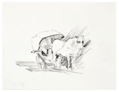 Horse and Carriage  - Original Charcoal Drawing y N. Czinober - Mid 1900