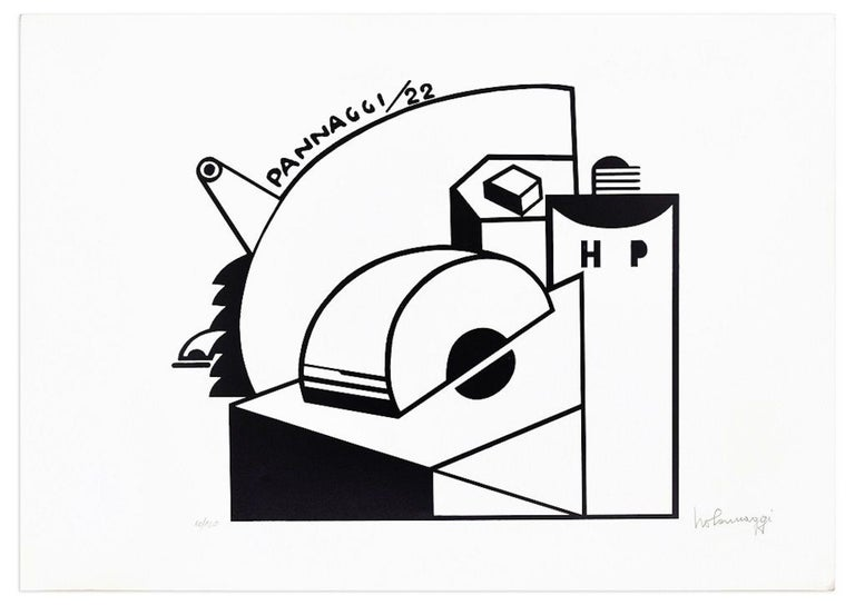 Mechanical Composition is an exceptional lithograph made by the artist Ivo Pannaggi, realized with a circulation of 100 prints around 1975 from one of his original drawings of 1922.  The state of preservation is excellent, except for some
