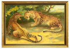 Playing Leopards - Original Oil on Canvas by F. Schebeck - Early 1900