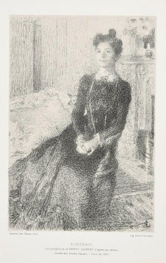Portrait of Woman - Original Lithograph by E. Laurent - 1901 ca.