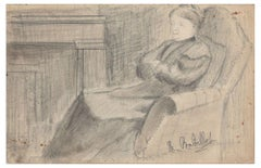 Portrait of a Lady - Original Pencil Drawing by M. Babillot - Beginning of 1900