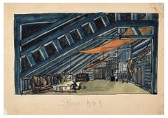 Scenography,  Décor Acte I - China Ink and Watercolor Early 1900