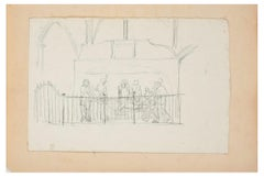 Transport of Dead Christ - Original Pencil Drawing by A. Gros - Late 1800