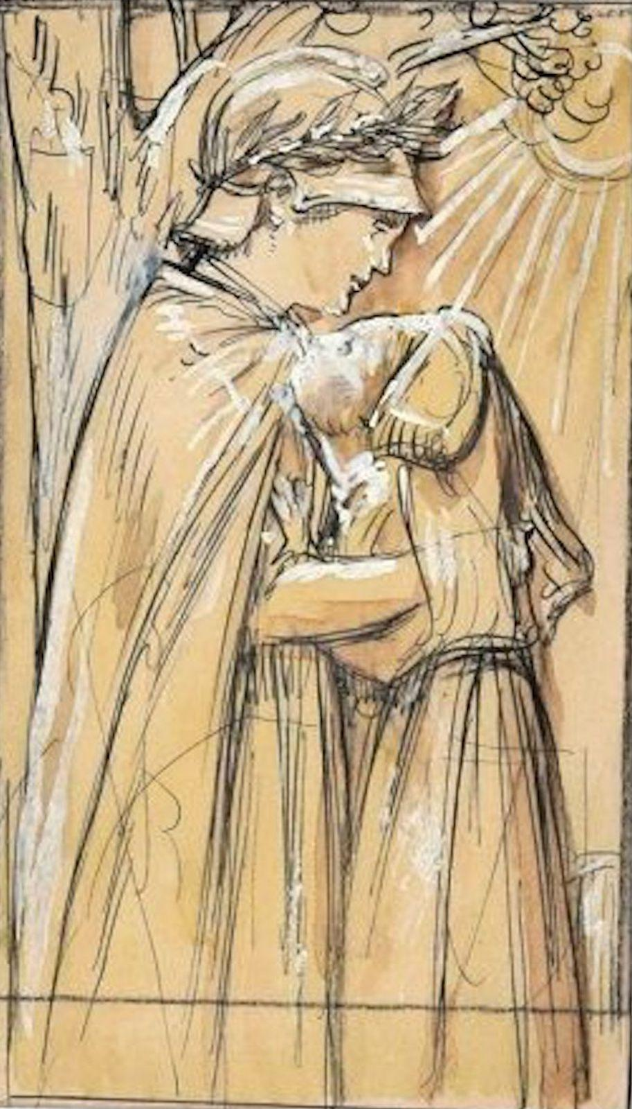 Embrace - Original China Ink Drawing by A. Giraldon - Early 20th Century