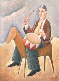 Tamburino a Cavallo - Original Oil on Wooden Panel by C. Benghi -