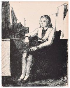 Sitting Woman - Original Lithograph by P. Borra - 1950s