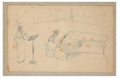 Concertino - Original Pencil Drawing by A.J.B. Roubille - Early 20th Century