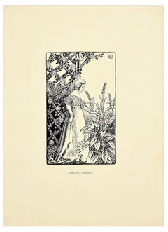 Printemps - Original Woodcut Print by J. Beltrand - 1899