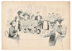 """The Great Toast - Original China Ink on Paper by P.-A. """"Sahib"""" Lesage -Late 1800"""
