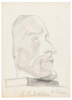 Male Profile - Original Pencil Drawing by A. E. de Noailles - Early 20th Century