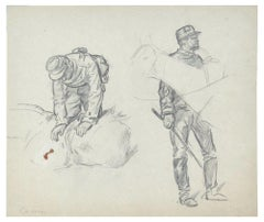Soldiers - Original Pencil Drawing by an Unknown French Artist - Early 1900