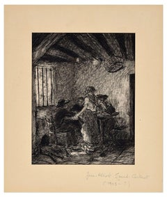 The Inn - Original China Ink on Paper by J.A. Grand-Carteret -First Half of 1900