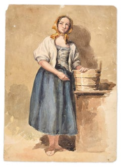 Country Woman -Original Ink and Watercolor by A. Aglio - Early 19th Century
