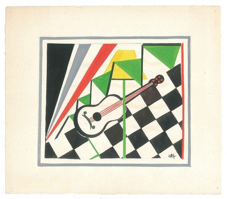 Guitar s a beautiful original tempera painting on ivory-colored paper, realized by Esy Beluzzi the middle of XXI century.  This colorful composition in which a guitar is exalted on a black and white chessboard and colored stripes is realized with