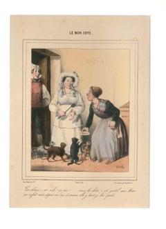 Le Bon Coté - Original Lithograph by C. Pruche - 1840 ca.
