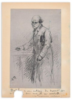 Portrait of Teacher - Original Pencil Drawing by A.C.C. Rodet - Mid 19th Century