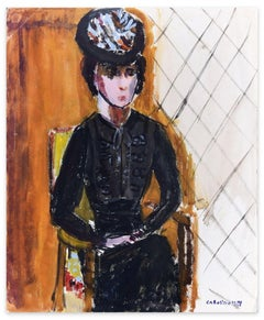Woman in Black - Original Tempera on Paper by Caroline Hill - 1970s