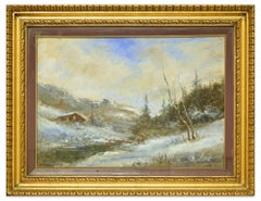 Snowy Landscape - Oil on Canvas by Francesco Mancini - Late 19th Century